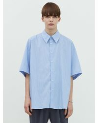 Add Cutout Stripe Avant-garde Shirt Blue