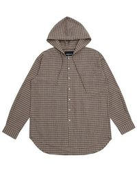 APPARELXIT [unisex]over Fit Check Hoodie Shirts Brown