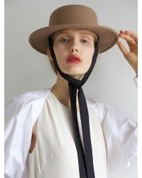 Awesome Needs - Lambs Wool Boater Hat_brown_face Ribbon - Lyst