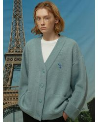 WAIKEI Dolphin Embroidered Oversized Fit Cardigan Blue