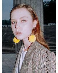 CLUT STUDIO 1 1 Pompom Drop Earrings - Yellow