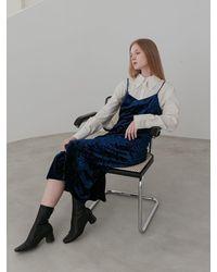 COLLABOTORY Crushed Velvet Slip Dress - Blue
