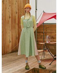 NEUL Colour Blocked Wool Dress Pastel Green Oatmeal