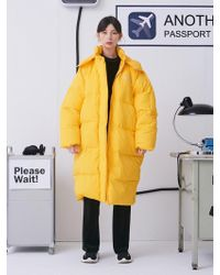 ANOTHER A - Oversized Long Down Jacket Yellow - Lyst