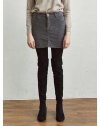 YAN13 Cord Slit Mini Skirt - Grey