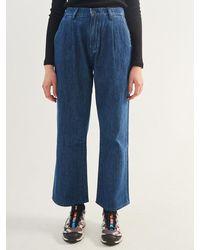 Plac Maison Pintuck Detail Wide Denim Trousers - Blue