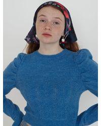 Baby Centaur Loken Puffed Sleeve Fluffy Knit Top - Blue