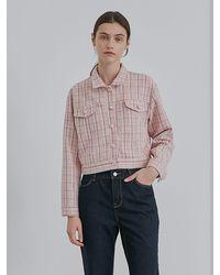among Checked Short Jacket - Pink