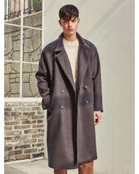 LIUNICK - Heavy Wool Bland Oversize Double Coat Brown - Lyst