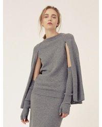 LE CASHMERE Cape R Neck Pullover - Gray