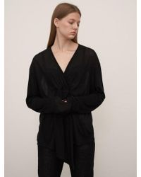 1159 STUDIOS - Mh7 V-neck Wool T-shirts_bk - Lyst