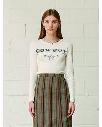 13Month Cowboy Long Sleeve Tee - White