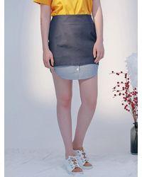 Blank Fake Shirt Skirt - Blue