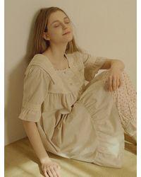 ULLALA PAJAMAS Short Sleeve Dress - Natural