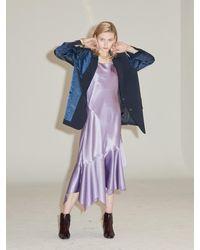 Clue de Clare Unbalance Satin Slip Dress - Purple