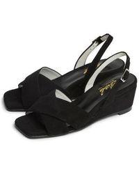 W Concept - Black X Strap Wedge Heel Comfortable Sandle - Lyst
