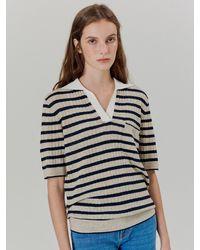 a.t.corner Stripe Collar Short Knit Beige (aesw1e004i2) - Multicolour