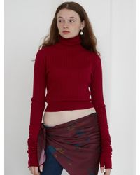 Baby Centaur Slim Cable Turtleneck Knit Top - Red