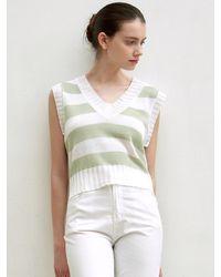 YAN13 Summer Stripe Knit Vest - Green
