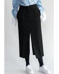 AEER H Line Wool Stripe Skirt Black