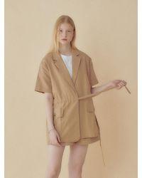 HIDDEN FOREST MARKET Linen Belted Jacket - Natural
