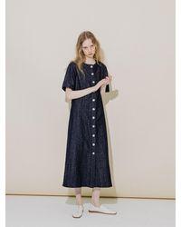 COLLABOTORY Linen Denim Dress - Blue