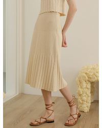among Pleats A-line Knit Skirt [2 Colors] - Green