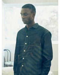 LIT. Stitched Denim Pocket Shirts Navy - Blue