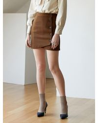 W Concept - Diagonal Wrap Skirt Brown - Lyst