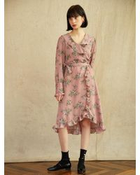 W Concept - Frill Wrap Dress_flower Pink - Lyst