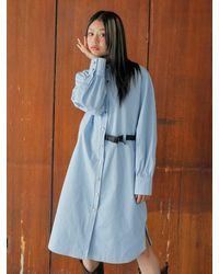 Noir Jewelry Belt Dress - Blue