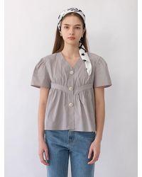 THE ASHLYNN Rylie Volume Shirring Blouse (grey)