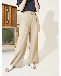 COLLABOTORY Linen Wide Belted Pants (3 Colors) - Natural