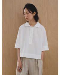 AEER Button Up Cropped Shirt White