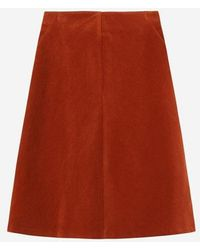a.t.corner - Dark Orange Cotton Corduroy Skirt - Lyst