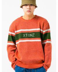 XTONZ Xtk008 Ray Logo Wool Knit Jumper - Orange