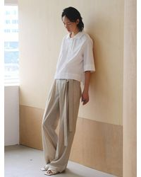 AEER Strap Detail Wide Trousers Beige - Natural
