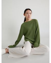 38comeoncommon Whole Garment Ribbed Round Knitwear - Green