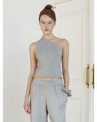 Baby Centaur Like Cashmere One Shoulder Knit [] - Grey