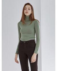 YAN13 Turtleneck Slim Long Tee - Green