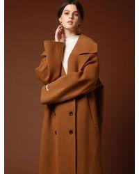 VRUMOUS Handmade Wool Wide Double Coat Camel - Multicolor