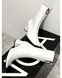 IGINOA Square Front Zipper Slim Boots 6 M-ig-180903 - White