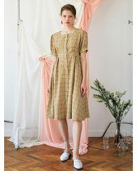 F.COCOROMIZ Square Neck Line Check Dress - Natural