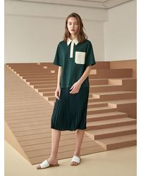 COLLABOTORY Pique Pleated Dress - Green