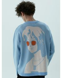 Heich Blade Ryan Graphic Knit Pullover Skyblue