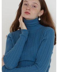 Baby Centaur Slim Cable Turtleneck Knit Top - Blue