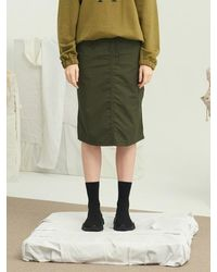 13Month - Waist String Midi Skirt Khaki - Lyst