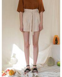among A Linen Banding Shorts - Natural
