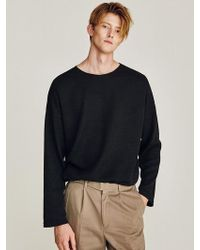 LIUNICK - Moved Overfit Round Knit Black - Lyst