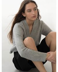 AVA MOLLI V-neck Cardigan (mel.grey)